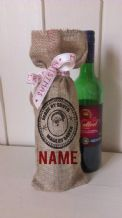 Personalized Made By Santa Stamp Wine Father Christmas Xmas Santa Sack / Stocking Bag Jute Hessian